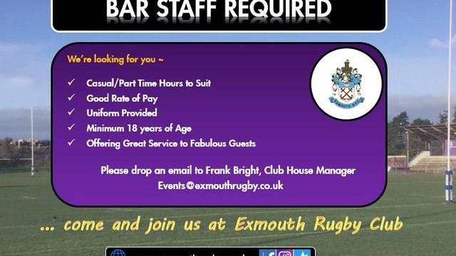 JOIN OUR BAR TEAM