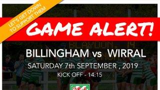 Preview: Billingham vs Wirral  07/09/19
