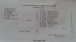 Old scorecards and match reports