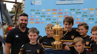 Rugby World Cup - Market Square - Nottingham 09/08/13 - U13's nearly get their hands on the cup...