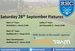 RHC Fixtures 28th September - Sponsored by Stagecoach Supertram