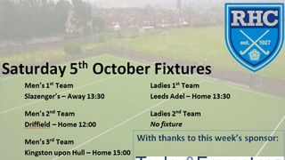 RHC Fixtures 5th October - Sponsored by Taylor and Emmet