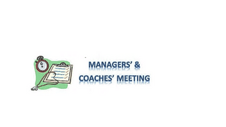 March Managers Meeting Monday 18th 8:15pm