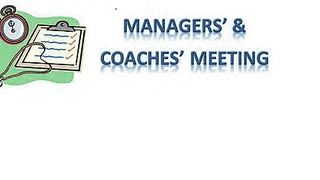 Septembers Managers Meeting Friday 7th 7:30PM