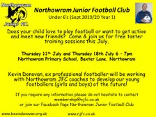 July dates for our U6 taster sessions announced