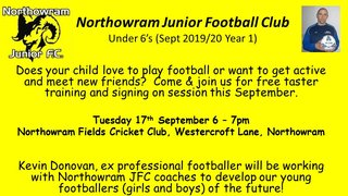 September DATE FOR OUR U6 TASTER SESSION ANNOUNCED