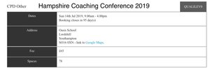 Hampshire Coaching Conference Oasis Academy 14 Jul 2019