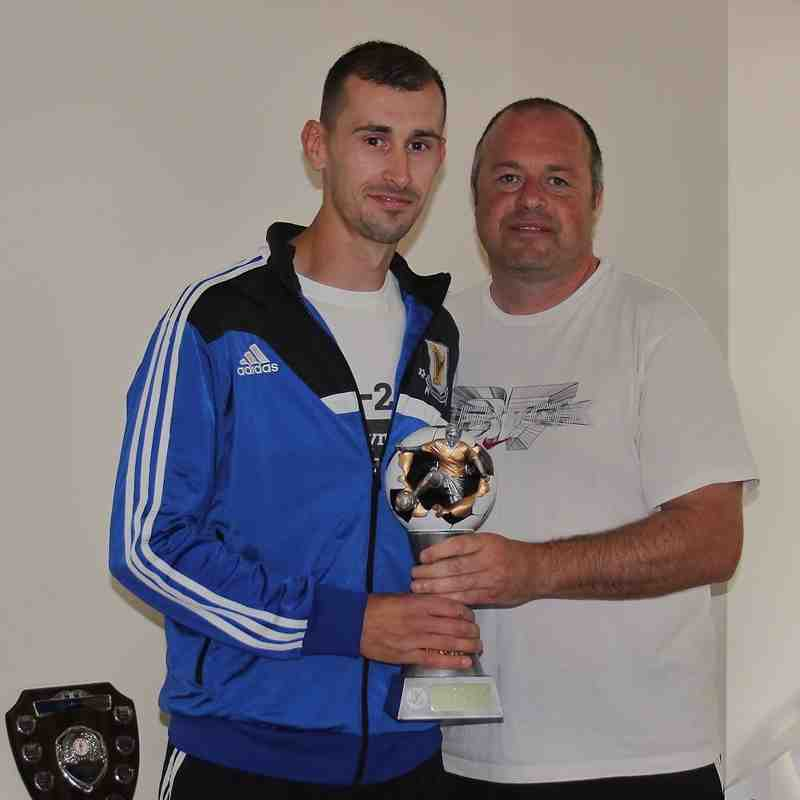 Player of the Year Hari Jones presented by Manager Gareth Parry