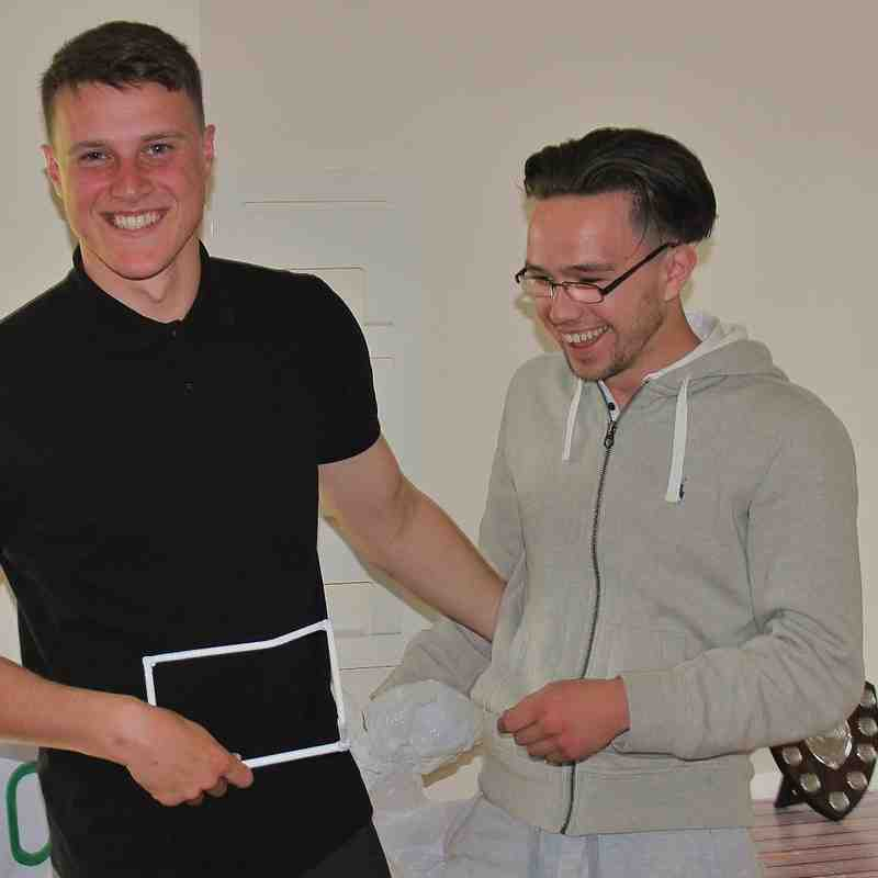 Idiot of the season Daniel Thomas (driving a dumper into the goal crossbar) presented by Cai Grieves.