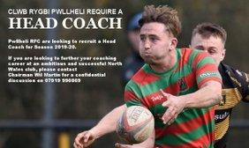 Pwllheli RFC have a vacancy for a Head Coach