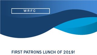 FIRST PATRONS LUNCH OF 2019! Saturday 12th January at 12.30pm