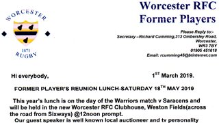 Former Players Reunion Lunch 18th May @ 12:00