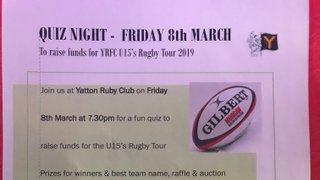 Quiz Night in aid of U15 Tour