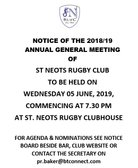 Notice of Annual General Meeting Wednesday 5th June 2019