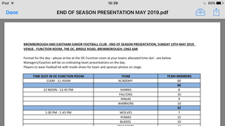 BROMBOROUGH AND EASTHAM JUNIOR FOOTBALL CLUB - END OF SEASON PRESENTATION, SUNDAY 19TH MAY 2019. VENUE - FUNCTION ROOM, THE OC, BRIDLE ROAD, BROMBOROUGH, CH62 6AR