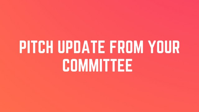 Pitch and Petition Update