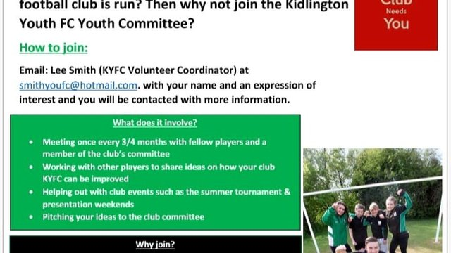 Players required for Youth Committee