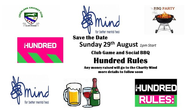 Club Hundred Match and Social Sunday Bank holiday Weekend