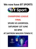 CHAMPIONS LEAGUE FINAL ON AT CATONS LANE - 1ST JUNE AT 8PM