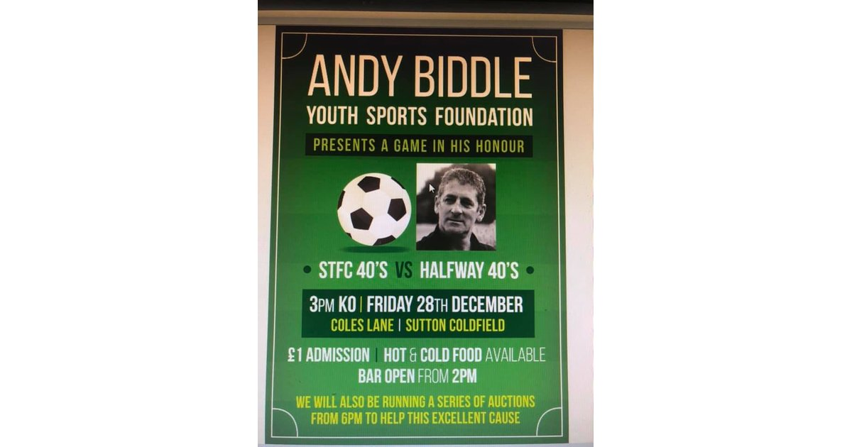 Andy Biddle Youth Sports Foundation presents a game in his honour!
