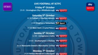 SKY and BT Fixtures on live in the club house this weekend