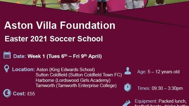 Aston Villa Foundation Easter 2021 Soccer School at SCTFC