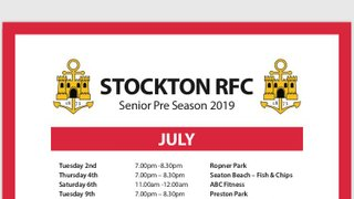 Senior Pre - Season starts 2nd July