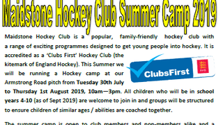 Hockey Summer Camp - 30th July - 1st August 2019