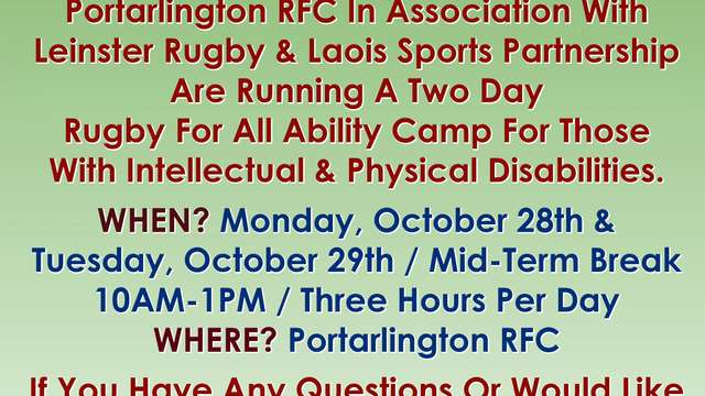 Rugby For All Camp -28th & 29th Oct 10am to 1pm