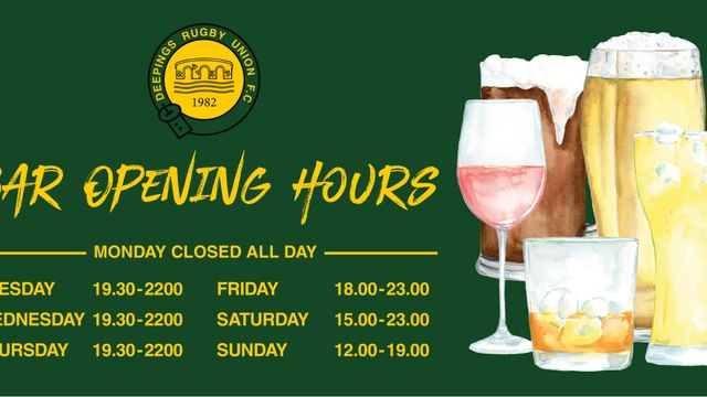 WE ARE PLEASED TO ANNOUNCE OUR NEW BAR OPENING HOURS