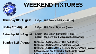 Weekend Fixtures - Juniors (U12s to U17s) and Seniors