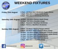 Weekend Fixtures - Juniors (U12s to U17s) and Seniors