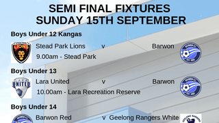 Semi-Finals Sunday 15th September