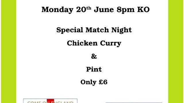 England vs Slovakia - Live and enjoy a curry!