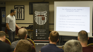 Jack Lester speaks at Grimsby Town Youth Academy CPD event