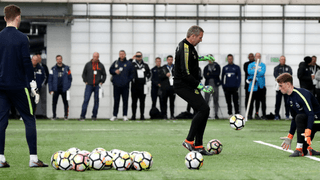 Grimsby Town youth acdemy goalkeeper coach Kris Hoskins attends FA National Goalkeeping Conference