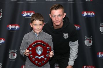 Grimsby Town U9 Player of the Year Joseph Cook with Max Wright