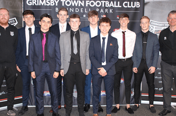 Youth team coach Callum Lester and manager Neil Woods. Image credits: Anne Boyers. with Grimsby Town youth team new starters 2019-20