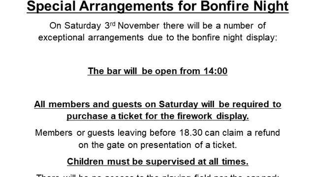 GTCC Bonfire and Fireworks Display update