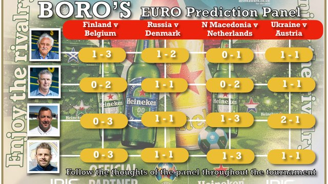 Today's EURO Prediction's from the BORO' Panel