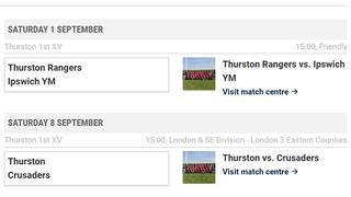 Thurston 1st XV home game 1st Sept