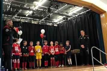 Betley FC Saxons receiving awards