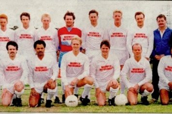 1988-89 Back Row(left to right) L Young (secretary), A Highton, R Cotterill, P Henley, A Shipstone, D Austin, G Woodford, S Young, F Knowles (Official), D Buckley (Official) Front Row (left to right) J Brodie (Player Manager), T Beeby, A Eaton, A Orange,