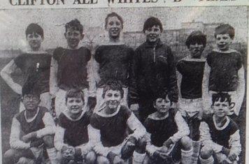 1966-67 All Whites B Team Back Row (l to r) R Hill, P Burke, I Robinson, A Pearson, G Leake, G Caine. Front Row (l to r) R Gale, A Clemerson,S Brindley, D Hallam, M Carolan