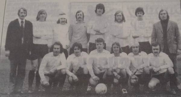 Peacock 1973 Back MJ Towne(Secretary)D Widdowson L Hardy K Jarvis K North P Whiley B Boot L Sharp (Manager) Front A Mann H Keeling B Jeffrey(Cape) M Lightfoot J Arnold C Betts