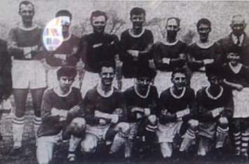 1963 Corpus Christi Back J Cumberland T Bloor T Bradshaw M Harrison P Broadsworth J Gilbert M 'o'Connor J Hennessey Father McGuiness Front B Stratford D Ball A Cassidy A Ball P Cassidy Mascot?