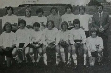 Fairham FC 1980s Forest Bowl Winners: Back J Lees A Smith J Webster A Purser M West P Foster AM Johnston (Manager) Front A Lambert N Brooks R McGregor S Smith (Capt) N Wilkins R Yates