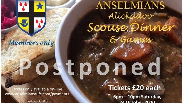 Scouse Dinner 24 October - postponed