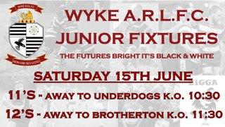 This Week's Junior Fixtures