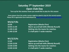 Club Weekend - women's programme for September 7 announced